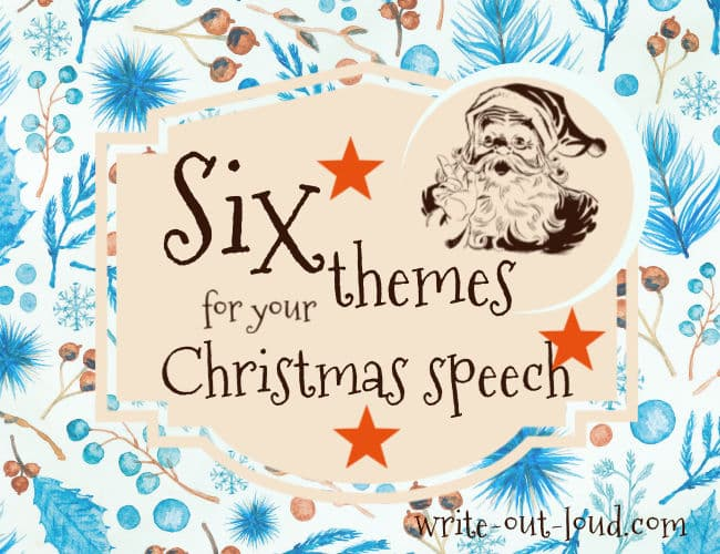 Image: blue winter background, label with retro santa claus saying 6 themes for your Christmas speech.