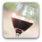 A glass of red wine raised in a toast