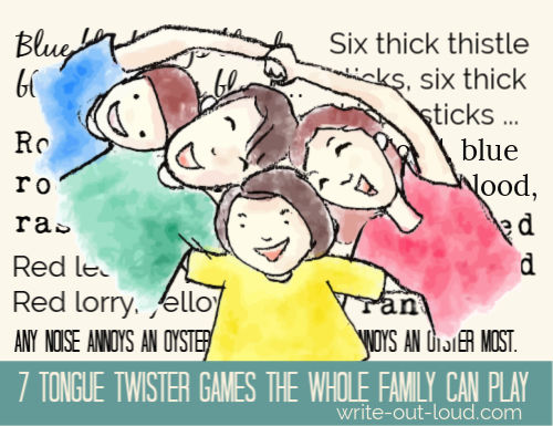 Happy family of four with tongue twisters in the background. Text: 7 tongue twister games the whole family can play.