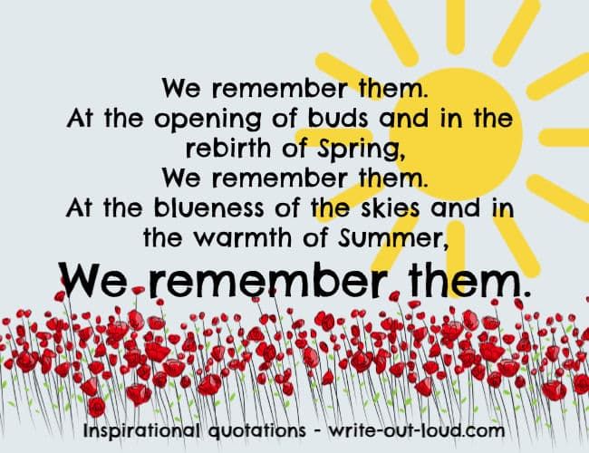 Graphic: blue background, yellow sun, masses of red poppies. Text: We remember them. At the opening of buds and in the rebirth of Spring, We remember them.