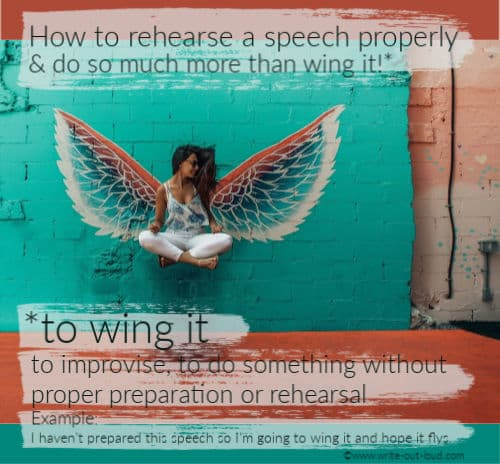 Image: women with wings Text:How to rehearse a speech properly and so so much more than wing it.