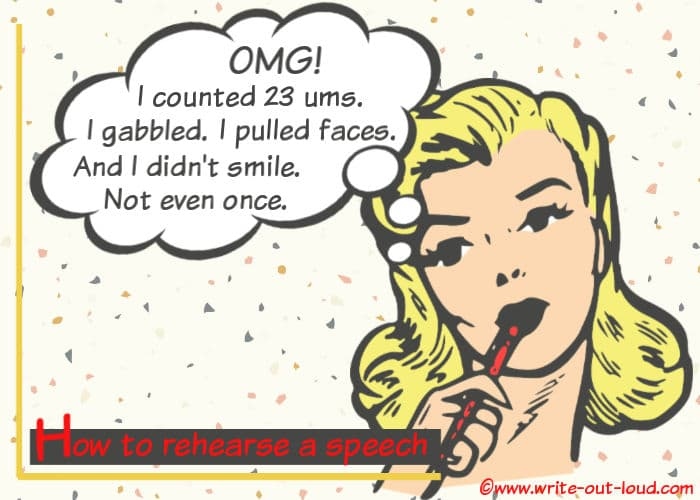 Image: girl musing. Text: OMG. I counted 23 ums. I gabbled. I pulled faces. And I didn't even smile once.