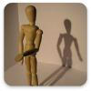 Thumb-wooden mannequin rehearsing a speech