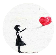 Banksy-girl with a red heart balloon