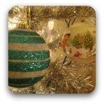 Christmas ball decorations on a silver Christmas tree