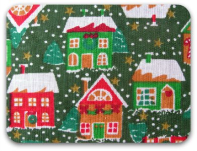 Christmas houses printed on fabric