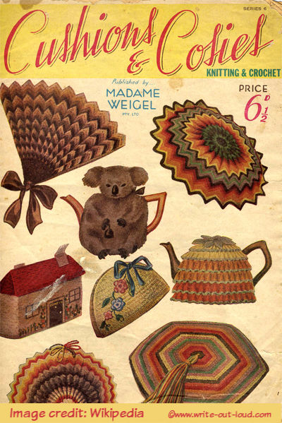 Image: cover of cushions and cosies magazine circa 1940