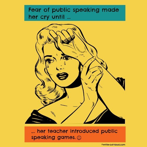 Retro woman crying- caption = Fear of public speaking made her cry until her teacher introduced public speaking games