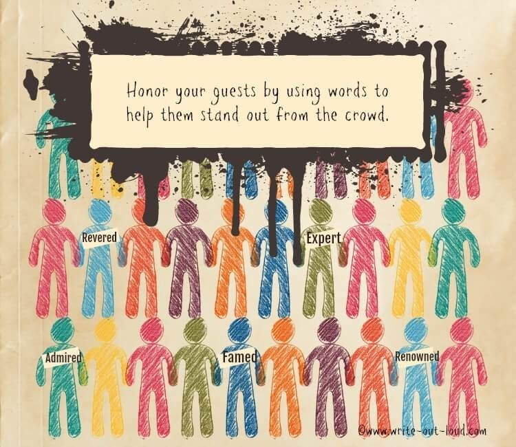 Image: hand drawn crowd figures. Text: Honor your guests by using words to help them stand out from the crowd.