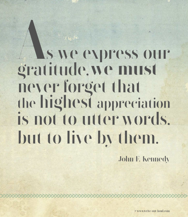 JF Kennedy quote - gratitude