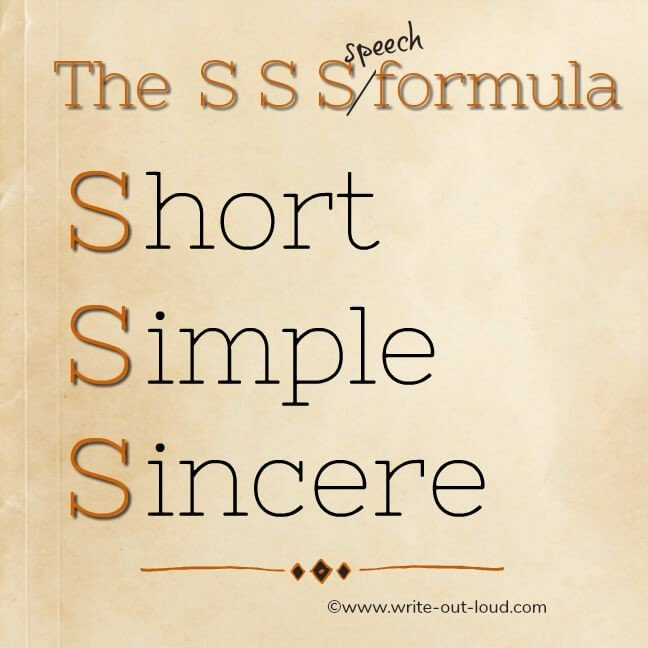Graphic: The SSS speech formula. Short, Simple and Sincere.