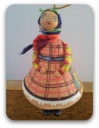 Pottery Russian Udmurt doll in traditional costume