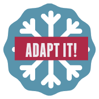 Round button image- snowflake with blue background. Text: Adapt it