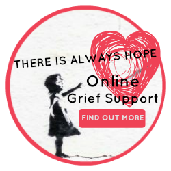Online Grief Support button - image Banksy - girl with a red heart-shaped balloon