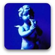 Blue angel playing a flute