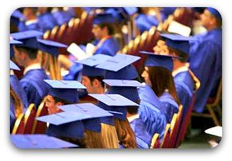blue gowned graduates