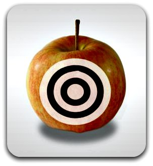 Target circles on an apple