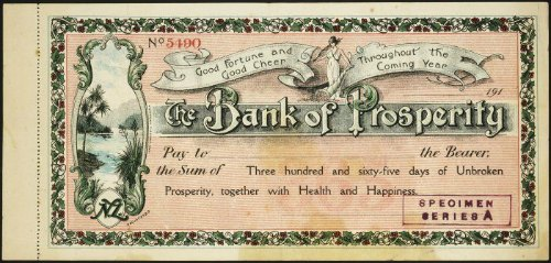 Vintage check for 365 days worth of unbroken prosperity together with health and happiness