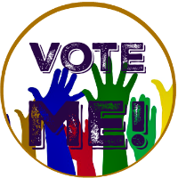Round button - Image - colored hands waving in affirmation - Vote Me! text on top of image.