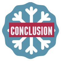 Speech conclusion button - snowflake on blue background.