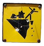 warning sign- don't fall off the edge of the cliff