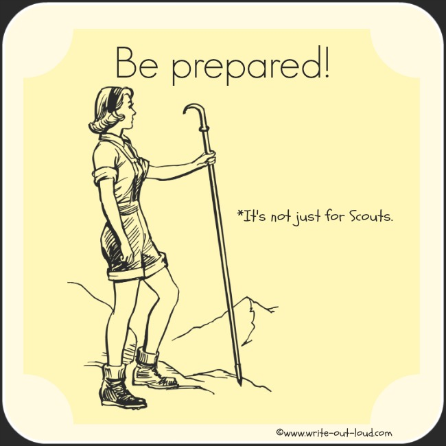 Image- retro pencil sketch of girl hiking up mountain. Text: Be prepared. It's not just for Scouts.
