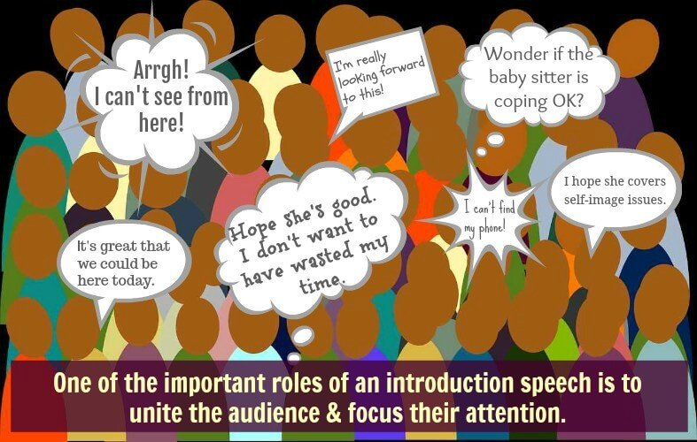 Image background - audience with overlay of multiple speech bubbles eg.