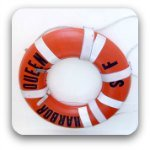 Red life-saving ring