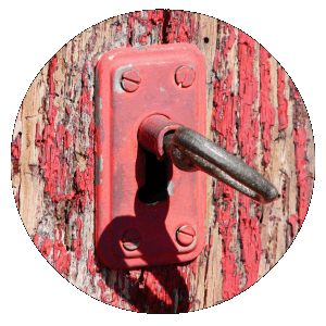 Old-fashioned lock with key