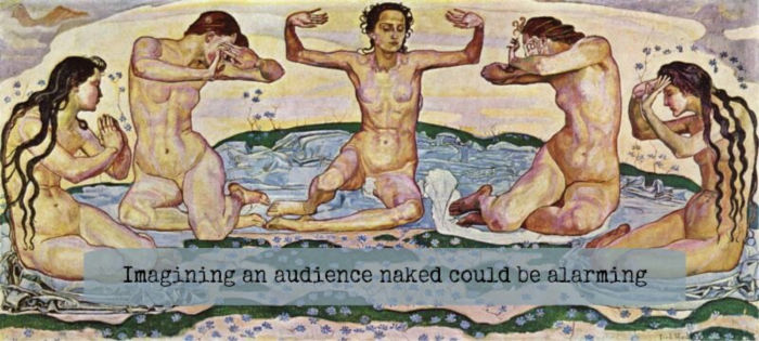 Painting of nude Greek muses - Caption: imagining an audience naked can be alarming.