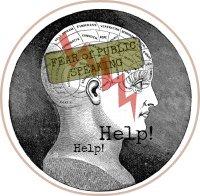 Phreneology head showing fear of public speaking-button