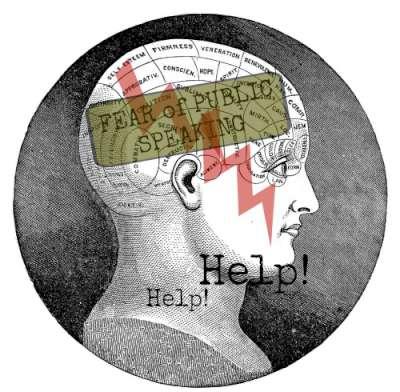 Phreneology head showing fear of public speaking