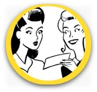 Retro graphic - two women looking at a checklist smiling