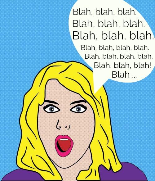 Woman saying Blah, blah, blah