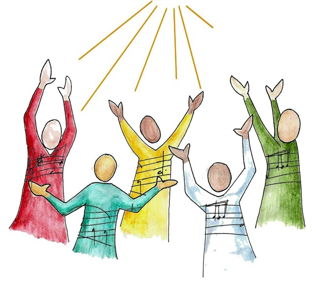 Image - Drawing by Amy Burton - 5 singers with their arms lifted in worship.