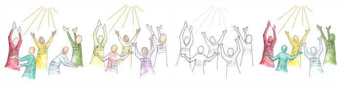 Image - 4 variations of a drawing by Amy Burton of 5 singers with their arms lifted in praise.