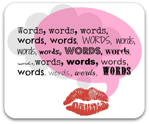 Words graphic - thought and speech bubble filled with words.