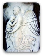 Stone angel with child