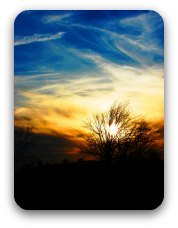 Sunset with blue sky