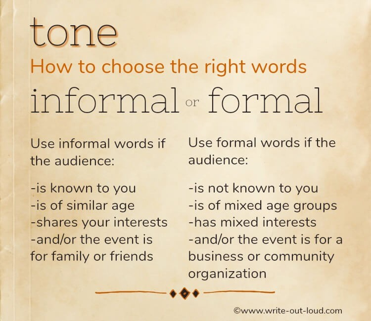 Graphic. Text: tone - how to choose the right words. Informal v formal