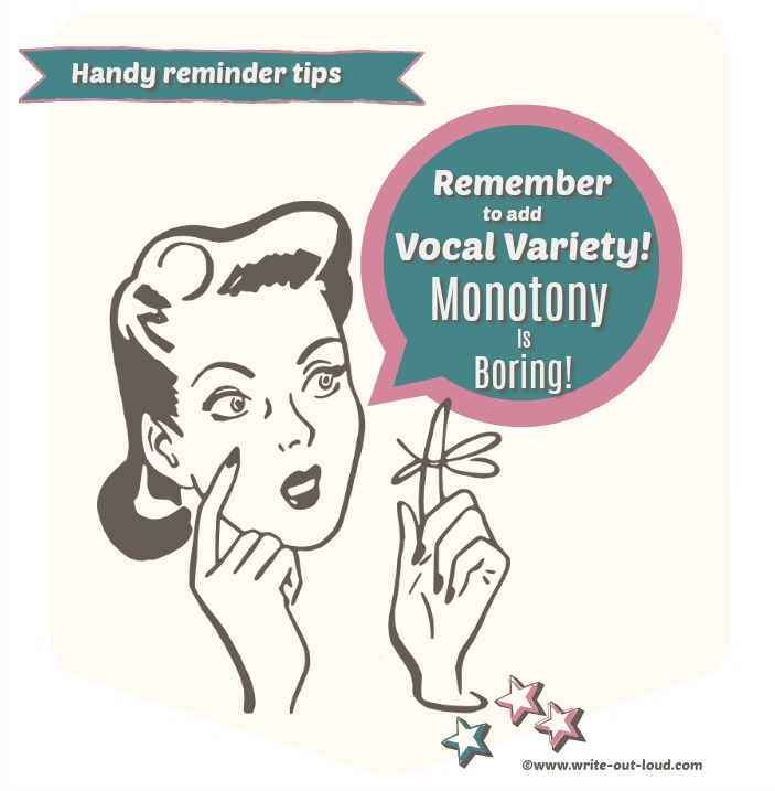 A retro woman with string tied around her finger - a reminder to use vocal variety when speaking because monotony is boring!