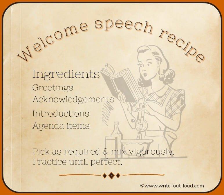 Welcome speech recipe. Graphic: retro woman reading recipe book.