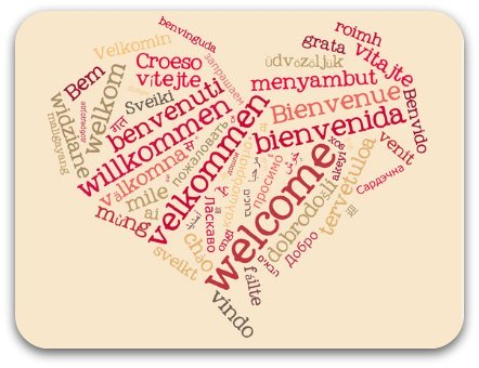 multi- lingual pink word cloud welcome heart